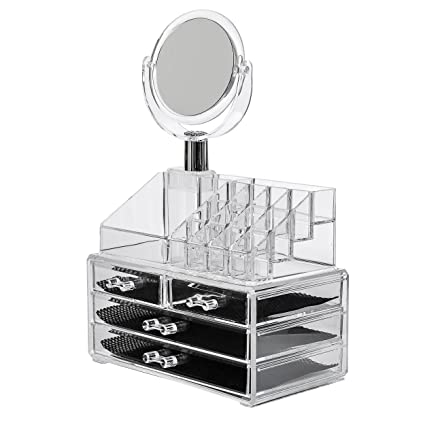 Amazoncom Acrylic Makeup Organizer 4 Drawers with Removable Mirorr