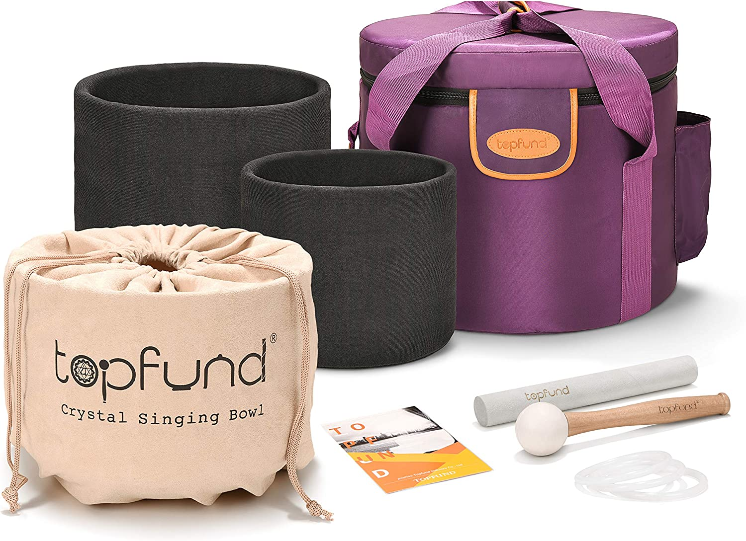 TOPFUND 432 hz Chakra Tuned Set of 3 Crystal Singing Bowls 7-11 inch with Heavy Duty Carrying Case and Singing Bowl Mallets