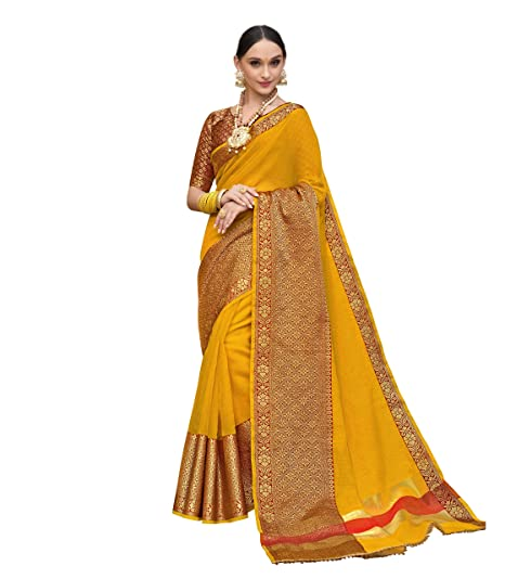 03a0518cb8 Taanshi Self Design Kanjivaram Cotton Silk Saree (Yellow): Amazon.in:  Clothing & Accessories