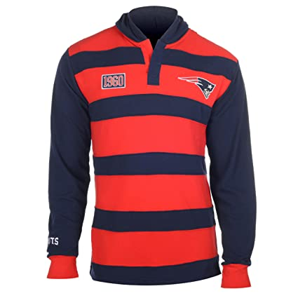sports shoes de968 27051 New England Patriots NFL KLEW Men's Striped Rugby Pullover Hoodie, Red /  Navy