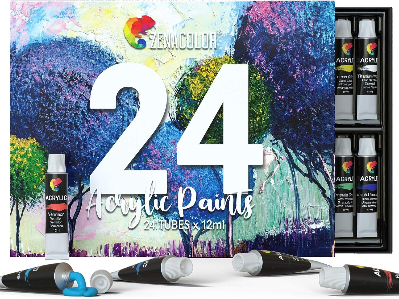 Zenacolor - Set de 24 Tubos de Pinturas Acrilicas - 24 x 12ml