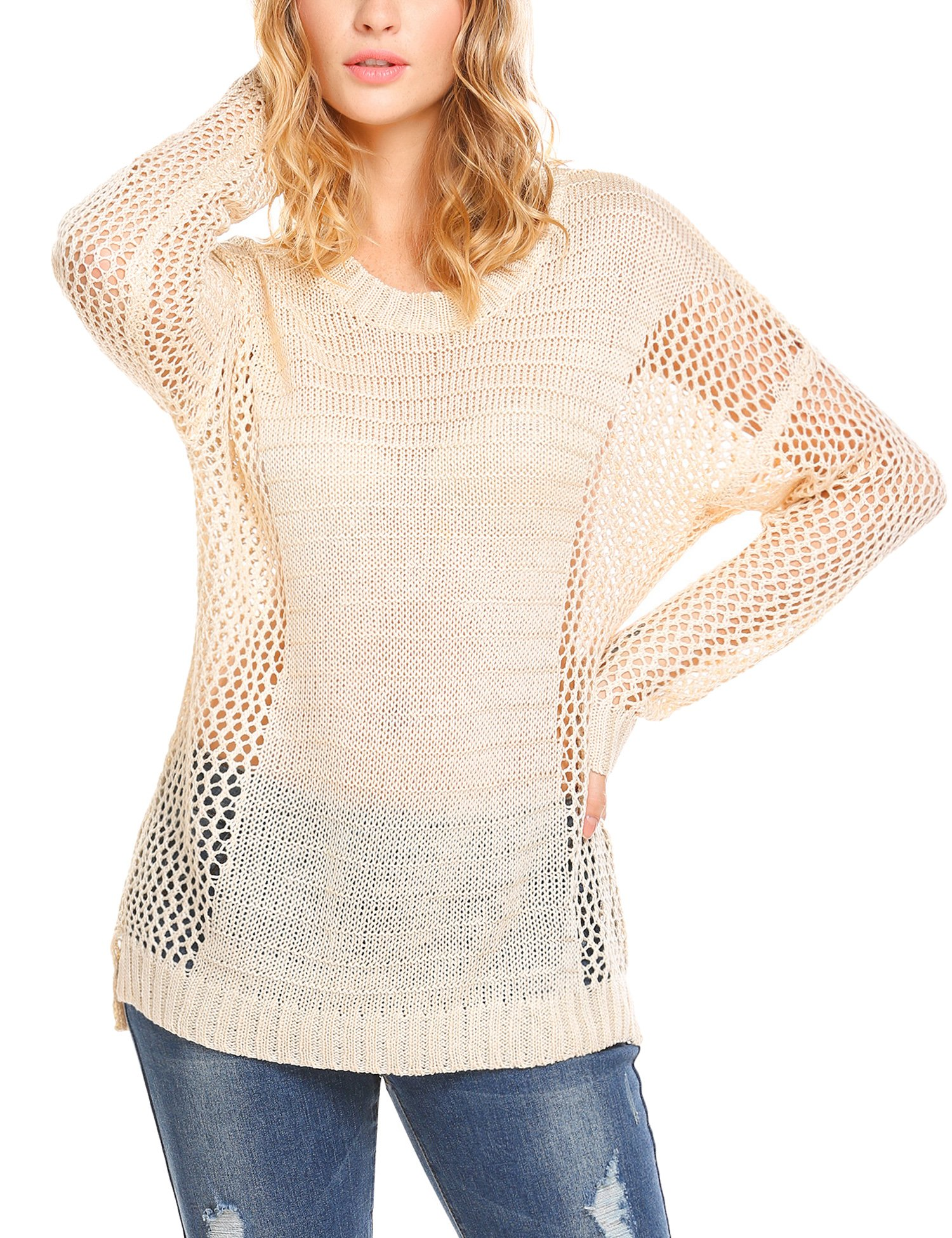 unibelle Women Casual Loose Hollow Out Knit Jumper Sweater Pullover Tops