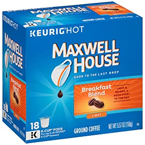 Maxwell House Breakfast Blend Keurig K Cup Coffee Pods (72 Count, 4 Boxes of 18)