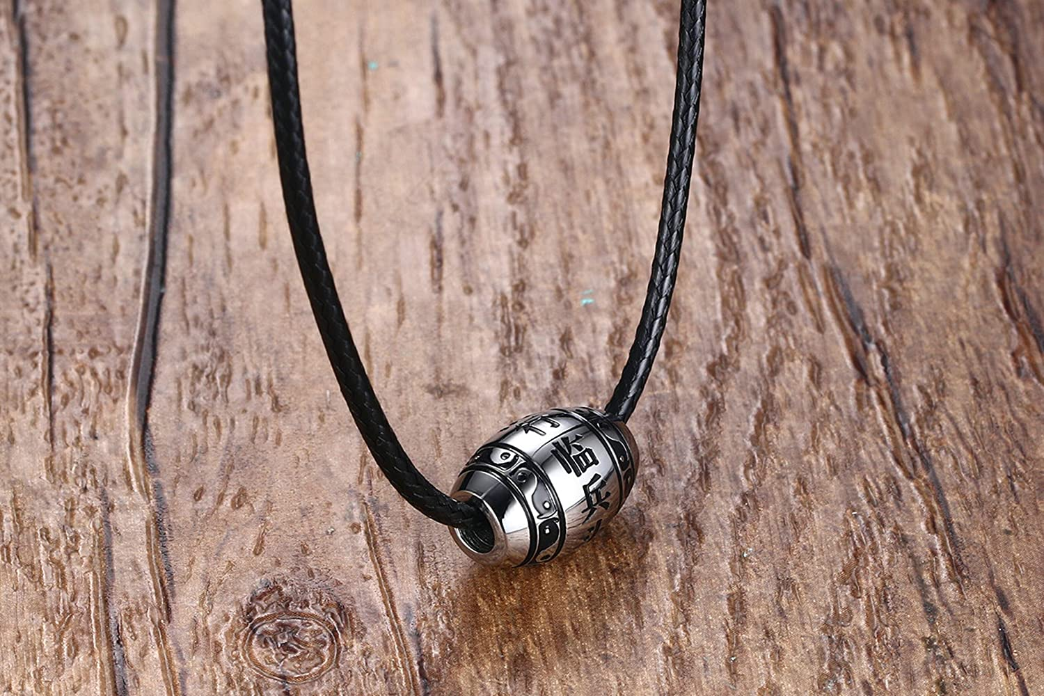 Bishilin Stainless Steel Necklace for Men High Polished with Nine Character Mantra Pattern Silver