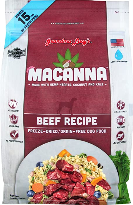 Grandma Lucy's Macanna Dog Food, Grain Free and Freeze-Dried - Beef Recipe, 3Lb Bag
