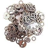 Fireboomoon 100 Gram (Approx 80pcs) Assorted Antique Steampunk Gears Charms Pendant Clock Watch Wheel Gear for Crafting…