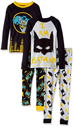 41e5b0c91efb Amazon.com  DC Comics Boys Batman 4 Piece Cotton Sleep Set