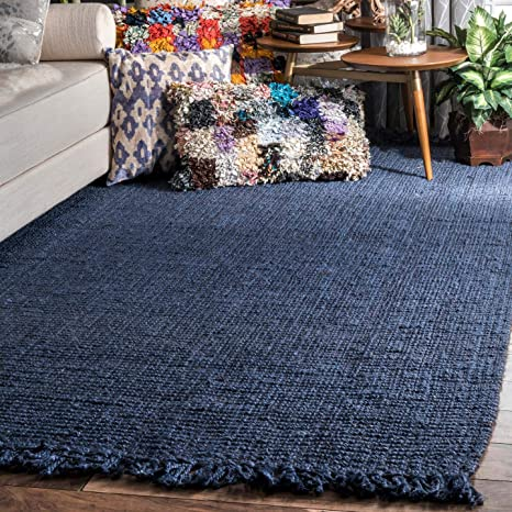 Amazon Com Nuloom Hand Woven Chunky Natural Jute Farmhouse Area Rug 5 X 7 6 Navy Blue Furniture Decor