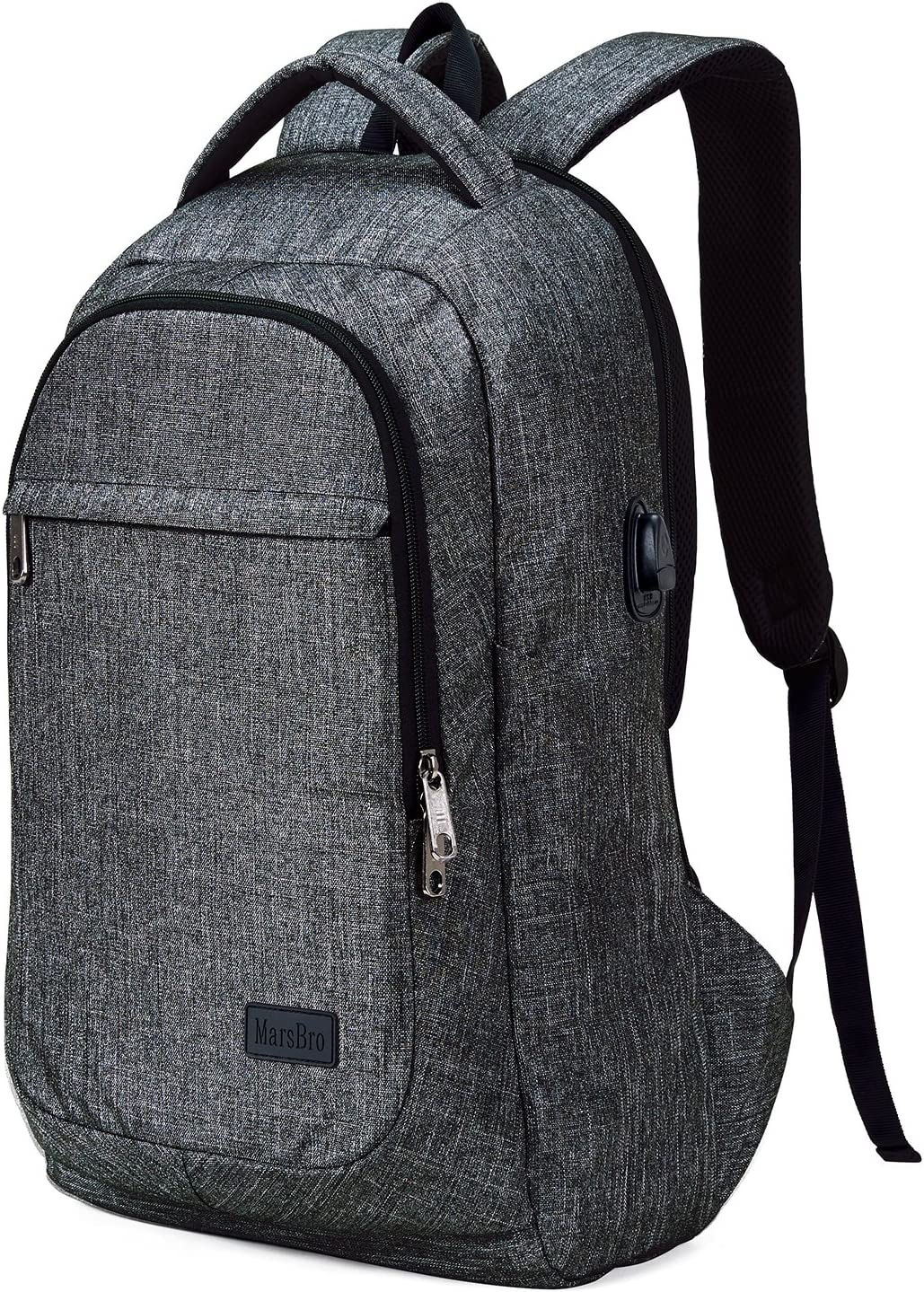 MarsBro Laptop Backpack, Business Travel College Backpack Anti Theft Water Resistant 15.6 Inch Bag for Women Men Grey