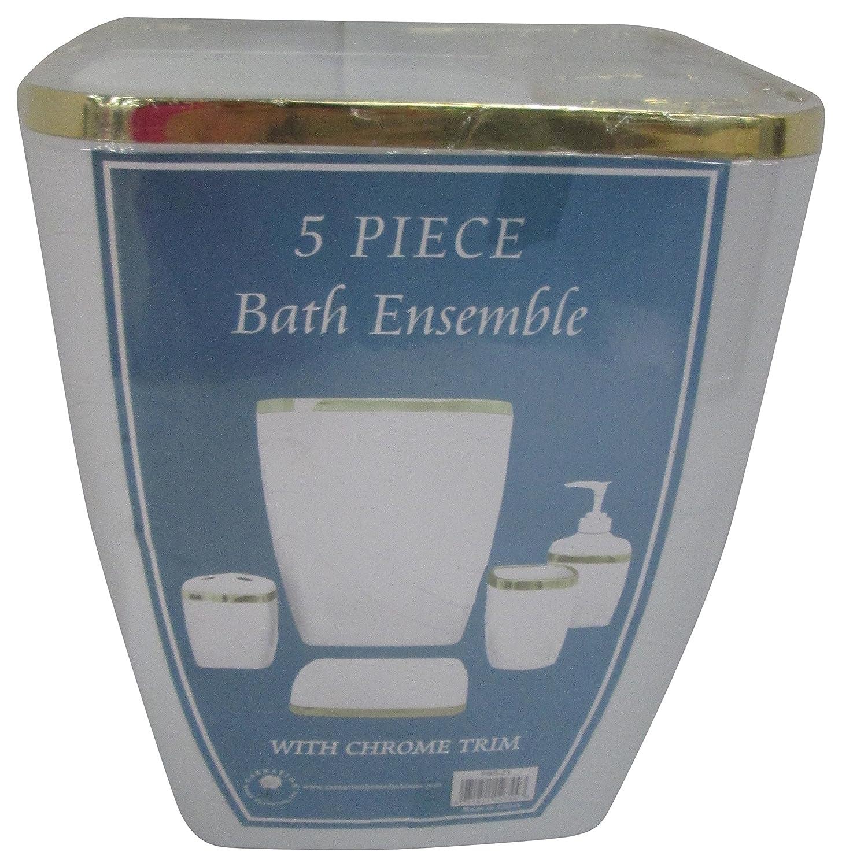 Carnation Home Fashions 5-Piece Plastic Bath Accessory Set, White