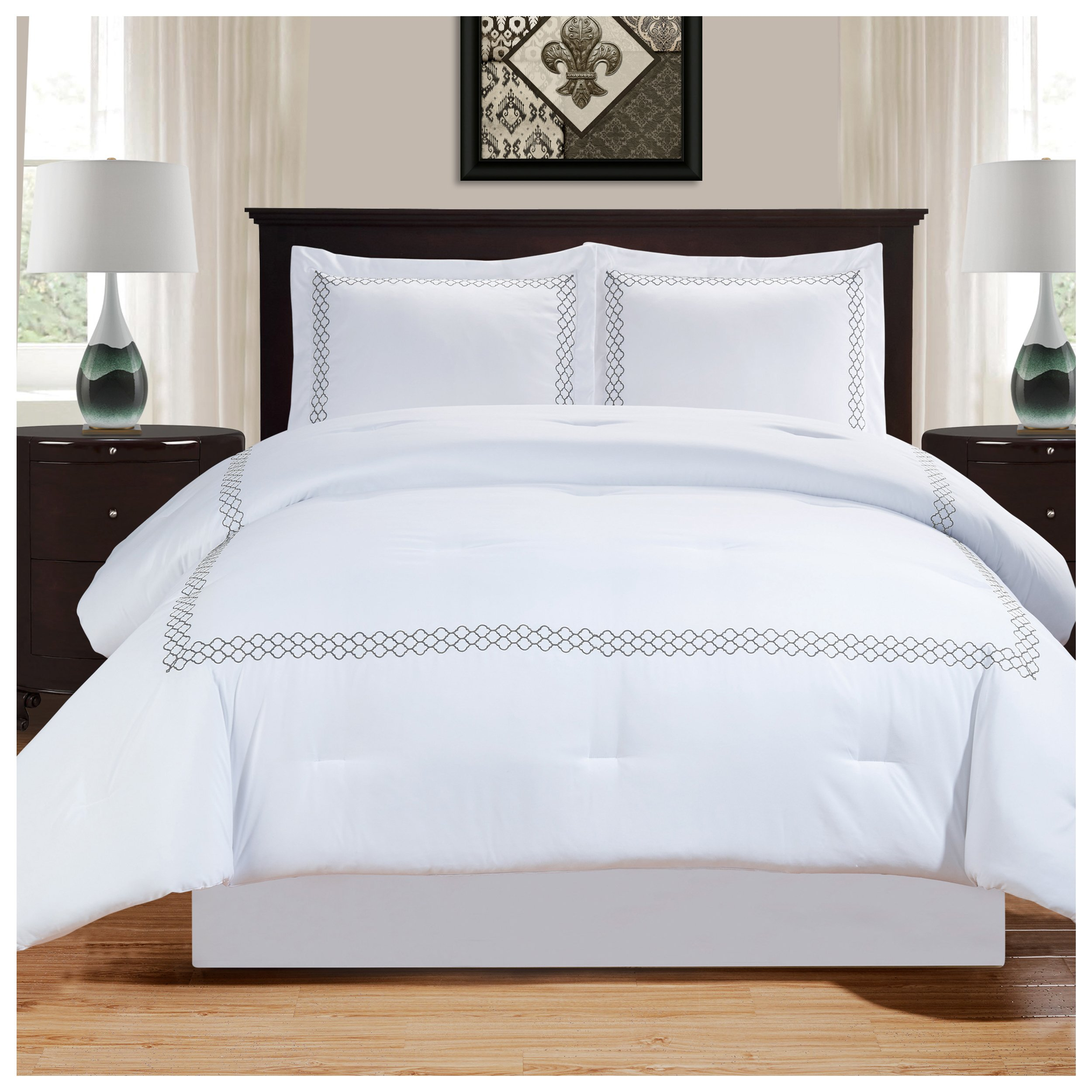 Superior Layla Trellis Embroidered Comforter Set with Pillow Sham, Luxury Hotel Bedding with Soft Microfiber Shell, All Season Down Alternative Fill - Twin/Twin XL, White with Grey