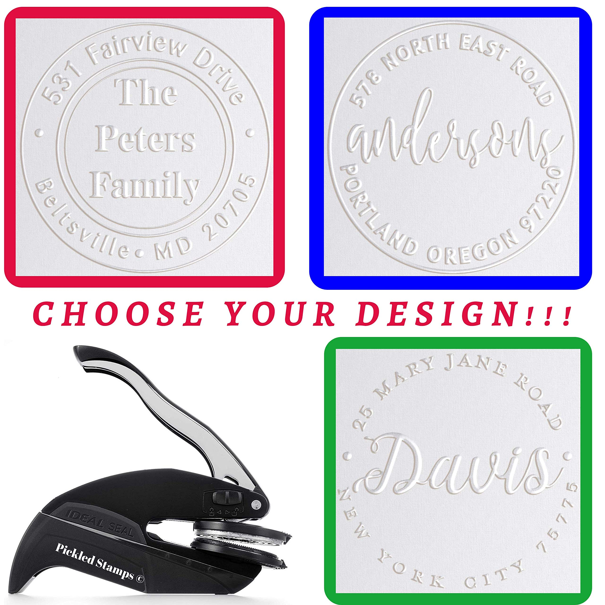 Address Embosser Seal Stamp Personalized Customized Monogram Wedding Invitiations 1 x 5/8'' by Pickled Stamps