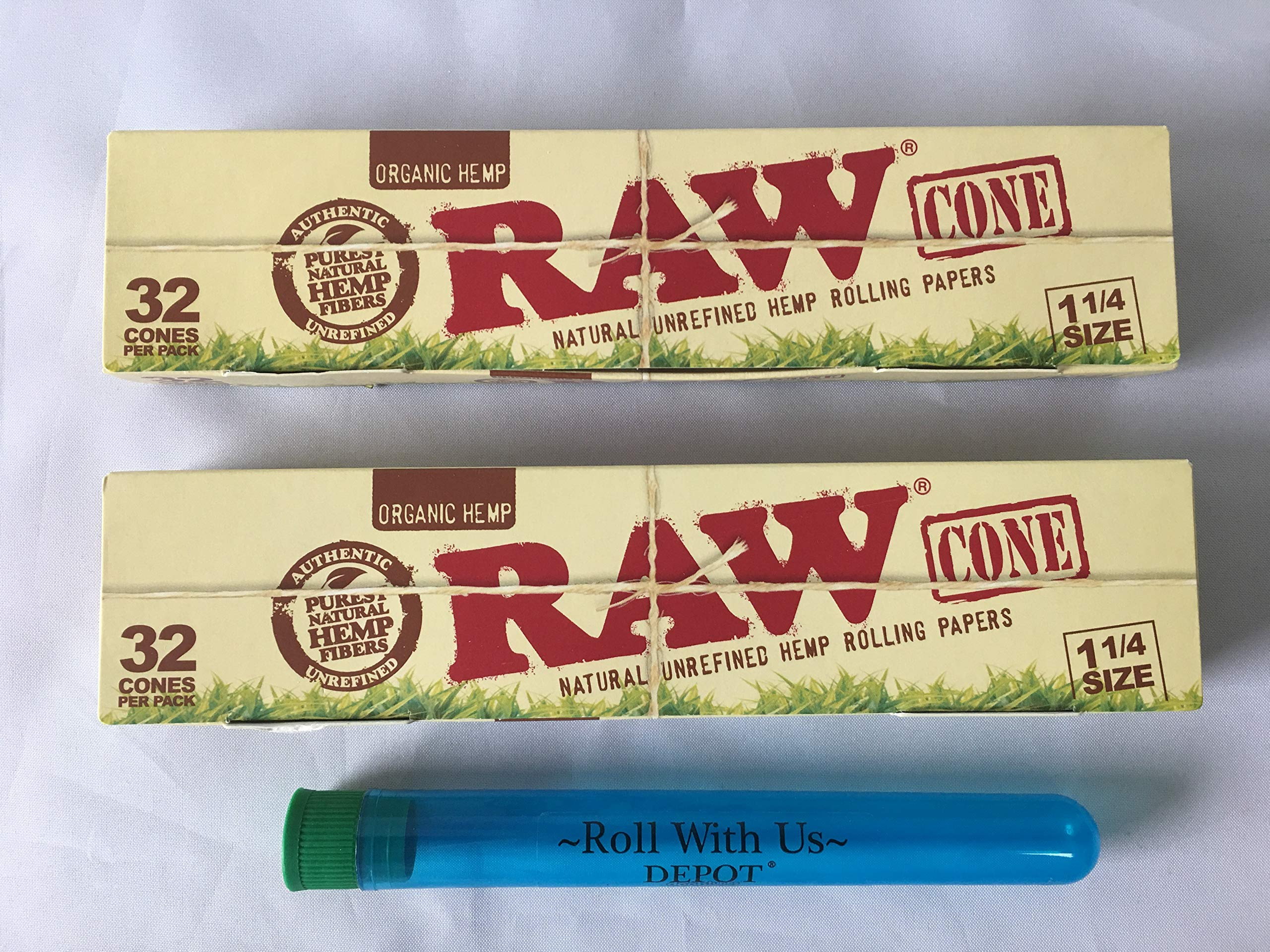RAW Cones 32 Pack (1 1/4 Size) Organic Pre Rolled Cones (2 Packs of 32 Cones) Includes Roll with Us Doobtube by Roll With Us Depot (Image #1)
