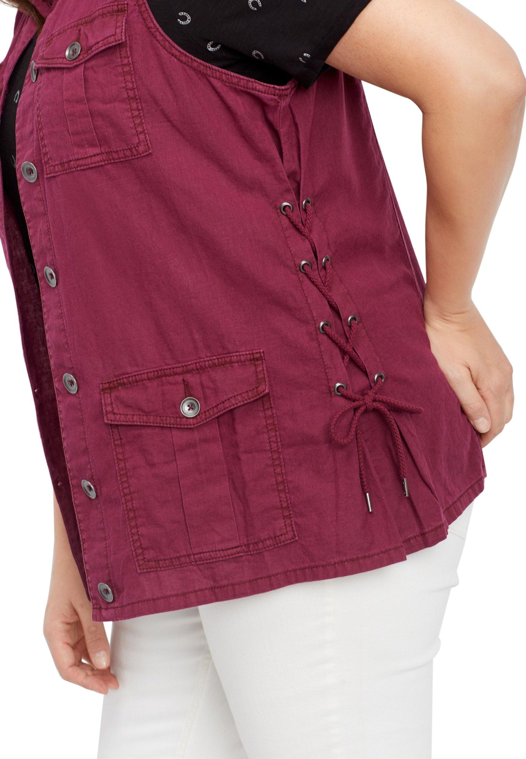 maurices Women's Plus Size Lace up Linen Vest 1 Plum Rose