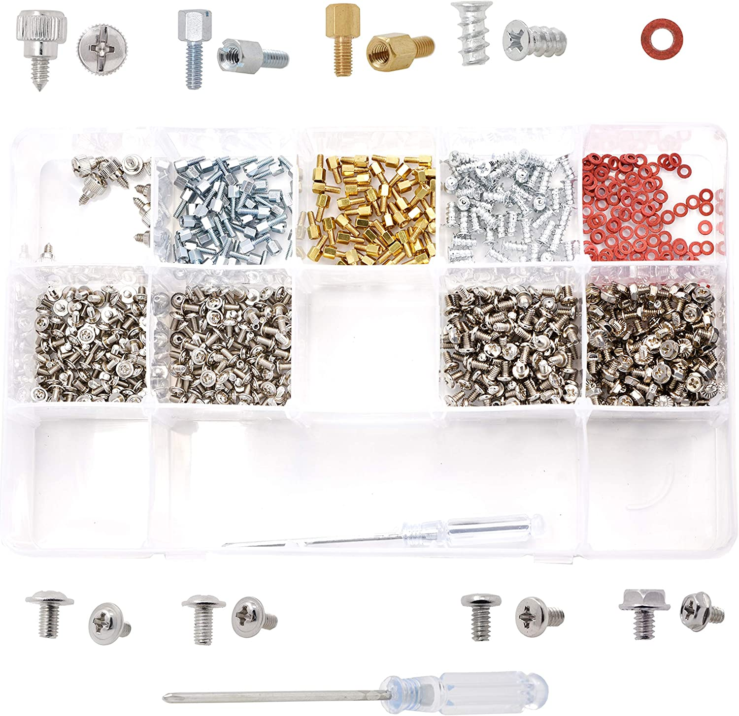 Mandala Crafts Computer Screw Assortment Kit for Computer Case Hard Drive Fan Motherboard Mount and Repair 660 Pieces