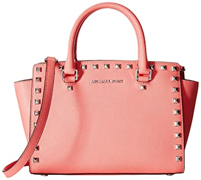 20dfcdba99be8c Amazon.com: MICHAEL Michael Kors Selma Stud Medium Top Zip Satchel (Medium,  Coral/Silver): Shoes