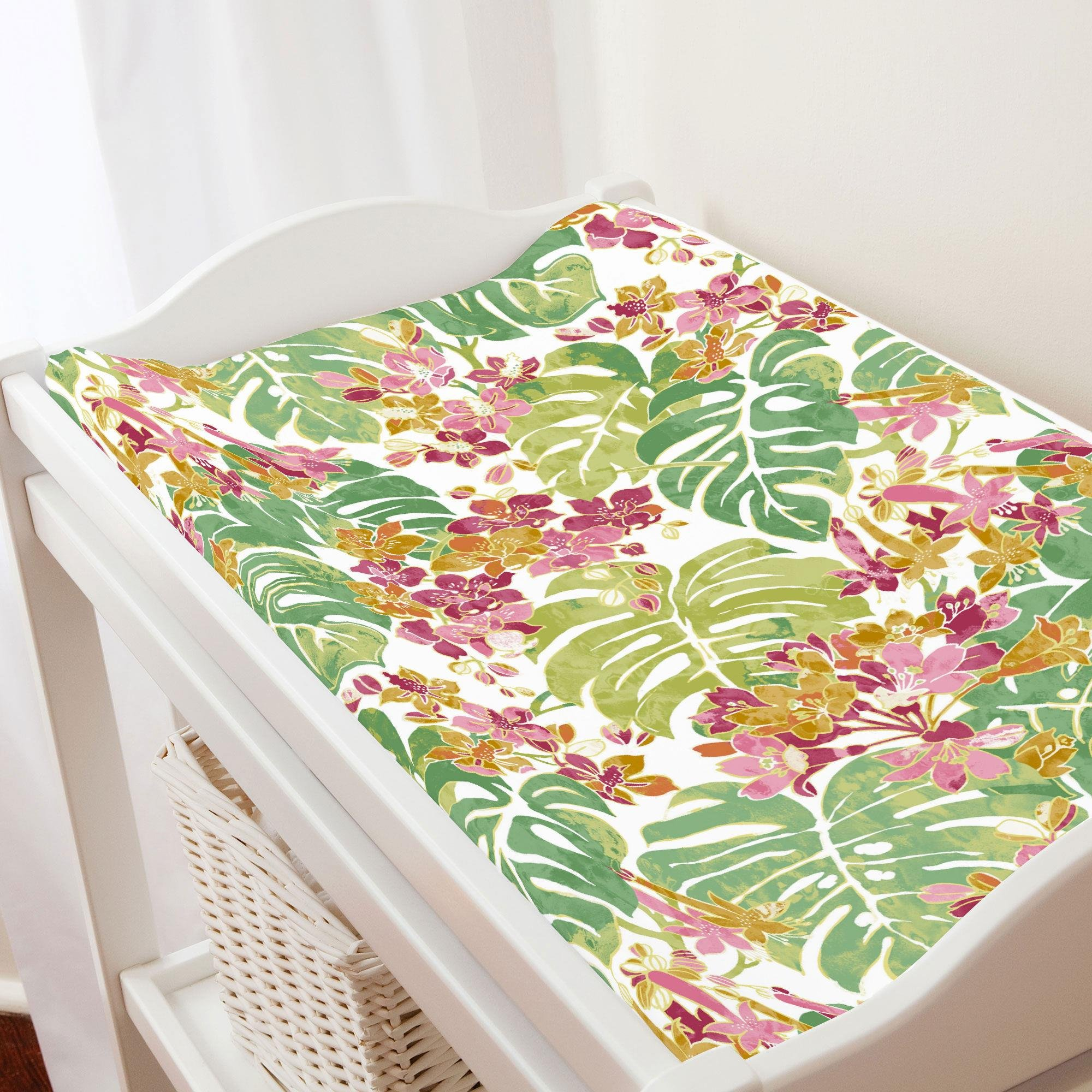 Carousel Designs Pink and Green Tropical Changing Pad Cover - Organic 100% Cotton Change Pad Cover - Made in The USA