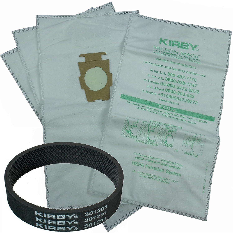 Amazon.com - 4 Kirby Allergen Micron Magic Universal F Style Turn Style  Vacuum Bags & 1 Belt -