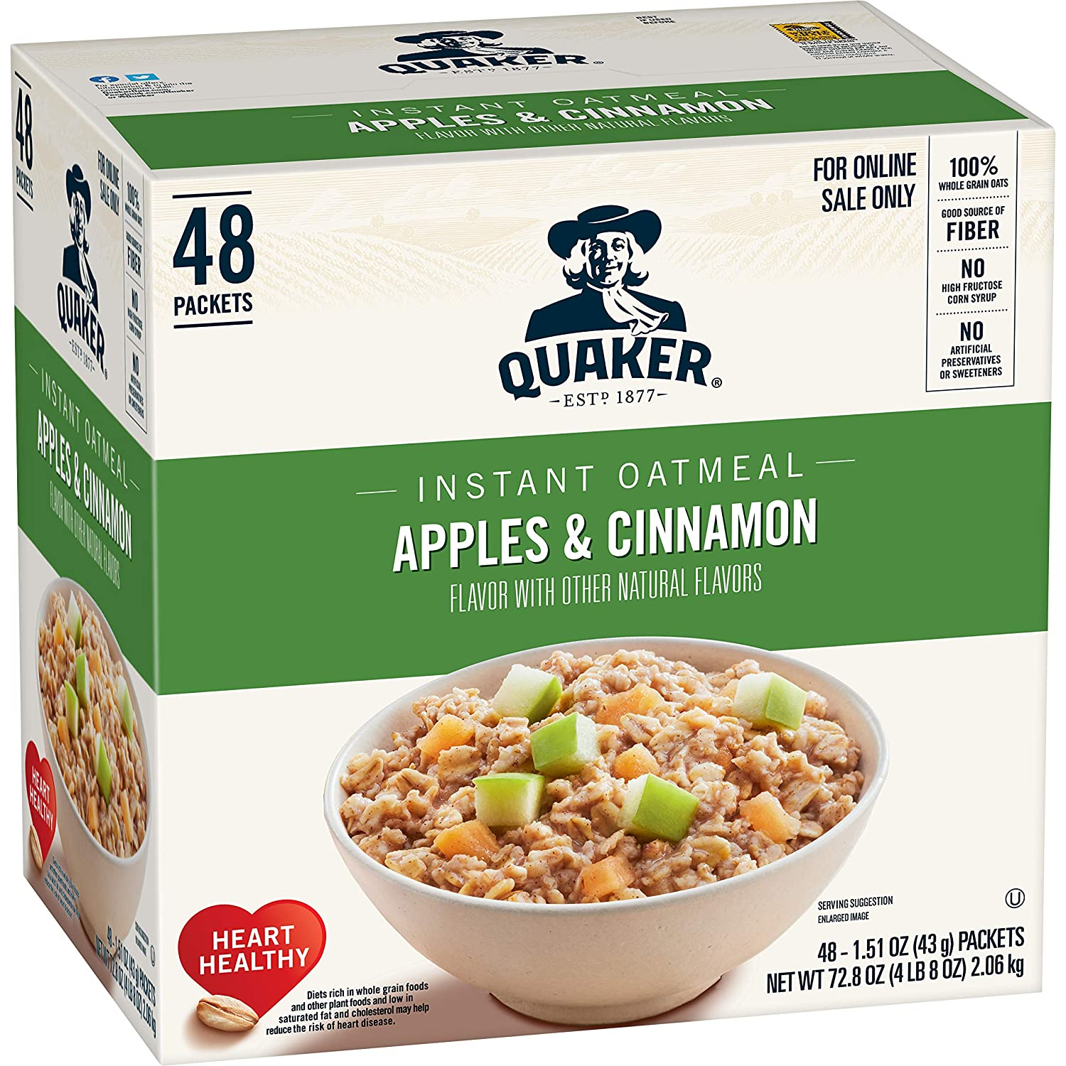 Quaker Instant Oatmeal, Apples & Cinnamon, Individual Packets (48 Count of 1.51 oz Packets), 72.8 oz