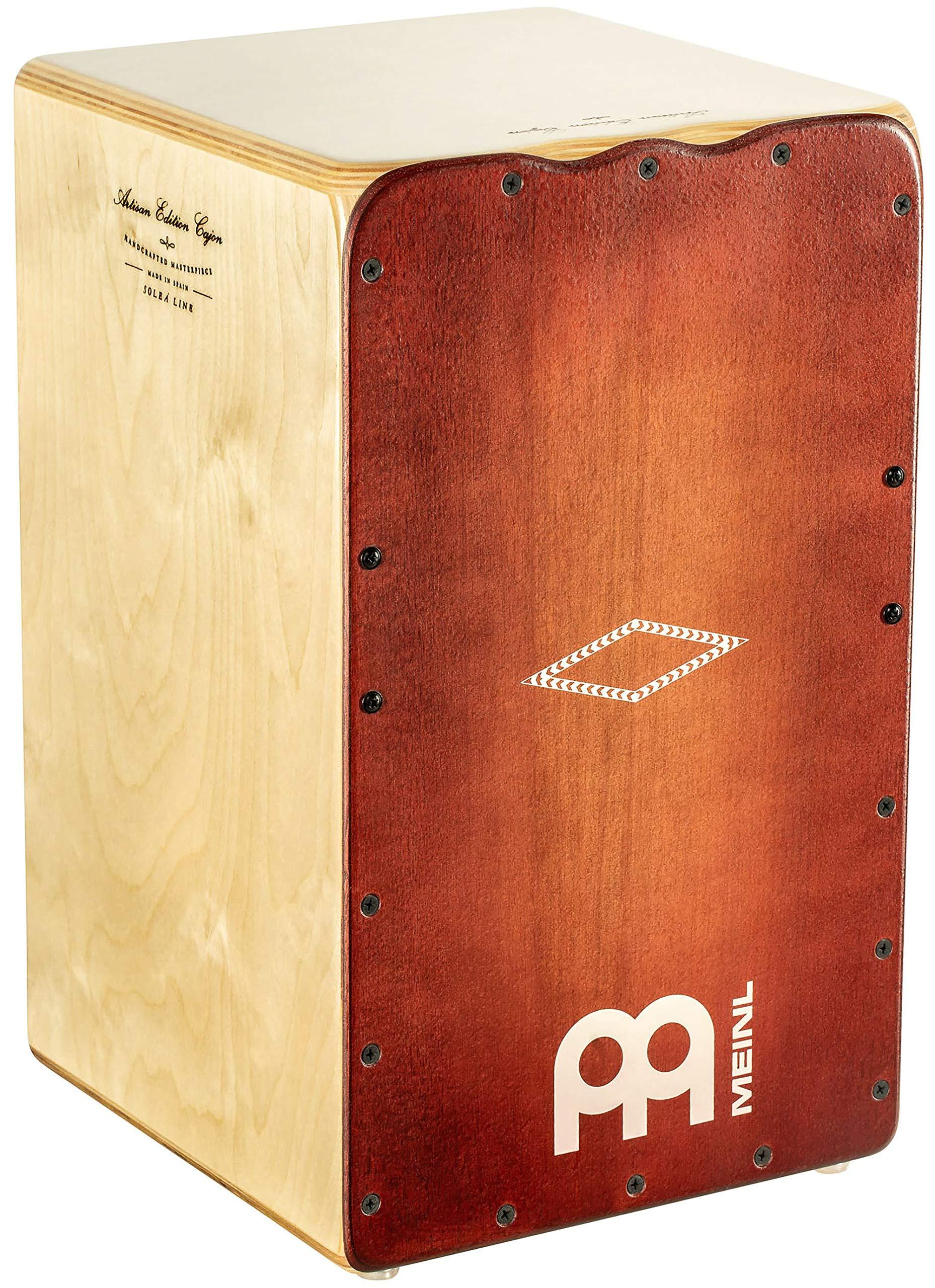 Meinl Artisan String Cajon with Dark Red Burst Frontplate / Baltic Birch Body - MADE IN SPAIN - Soleá Line, 2-YEAR WARRANTY (AESLRB) by Meinl Percussion (Image #1)