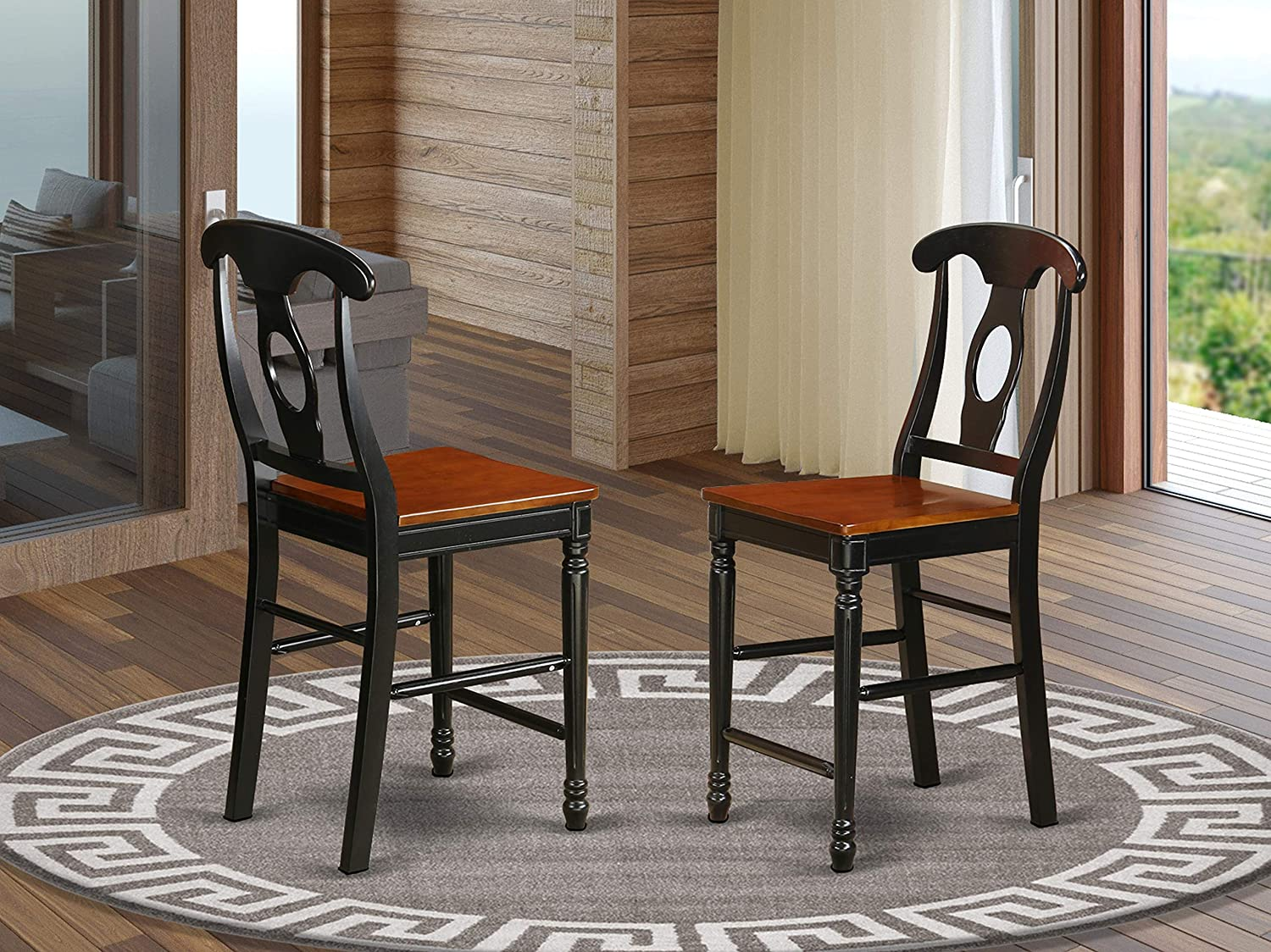 East West Furniture Kenley counter height chairs-Wooden Seat and Black Hardwood Structure counter height bar stools set of 2