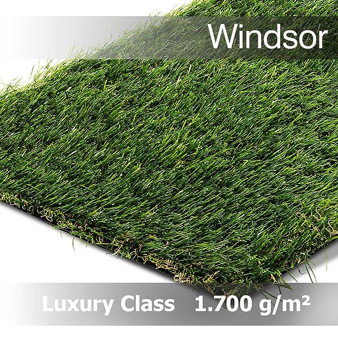2000 gr//m/² Gesamth/öhe 26 mm Windsor 200 cm x 400 cm Rasenteppich Kunstrasen Luxury Class Gesamtgewicht ca