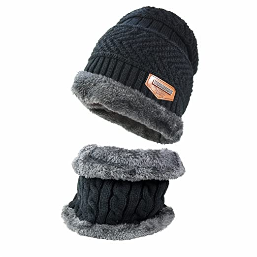 f4a6ad90765454 Image Unavailable. Image not available for. Color: JoyRing Beanie Hat Scarf  Set Thick Knit Cap Warm ...