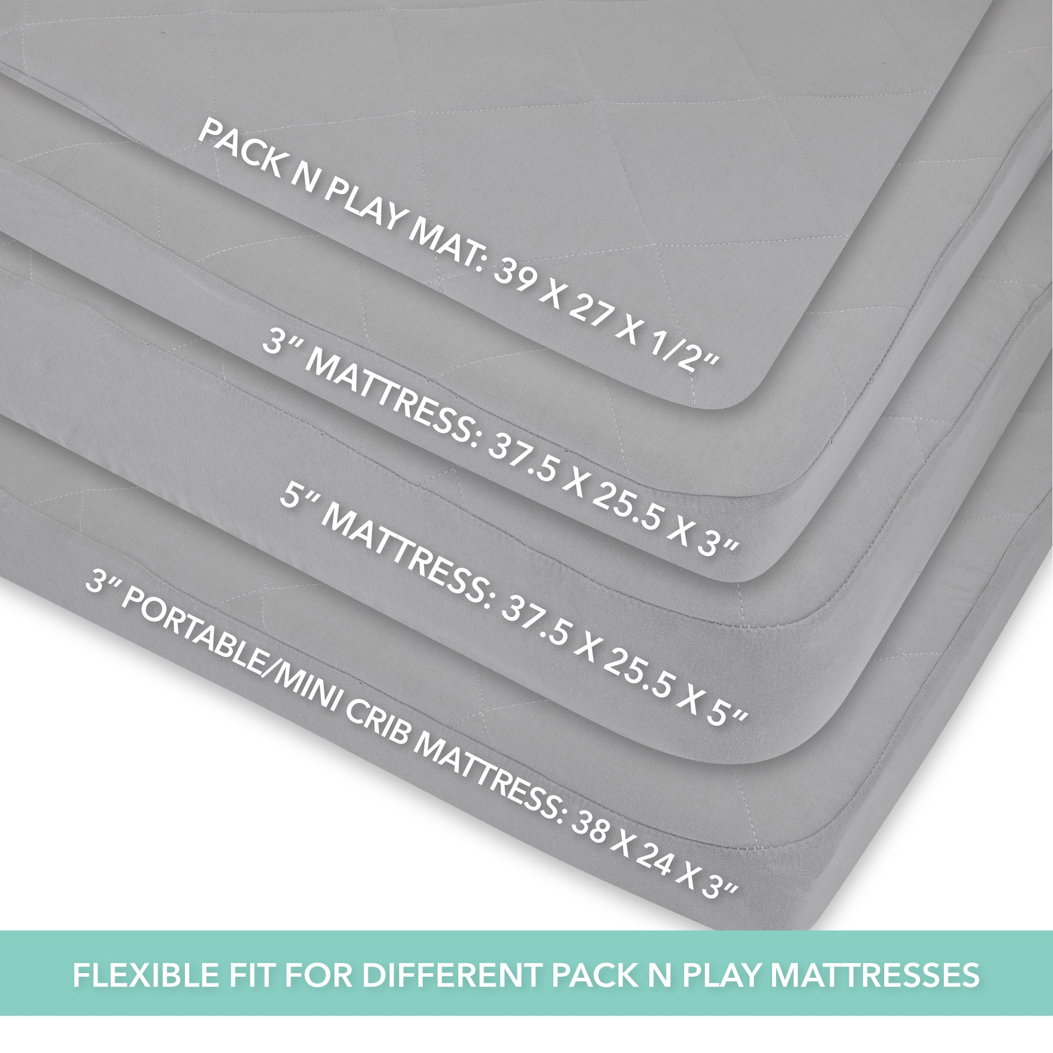 Waterproof Cotton Quilted Pack n Play Sheet | Mini Crib Sheet | New Revised Fit with Added Heat Protection |All in one Mattress Pad Cover and Cozy Sheet, Grey by Ely's & Co by Ely's & Co. (Image #5)