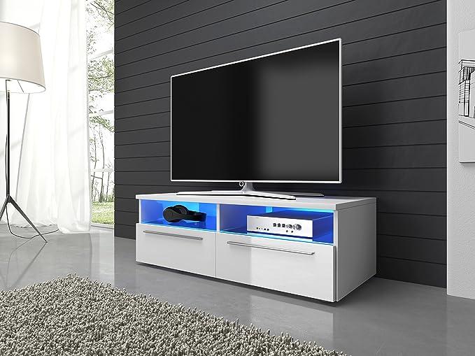 TV Möbel Lowboard Schrank Vannes 100 cm mit LED-Beleuchtung, mattes ...