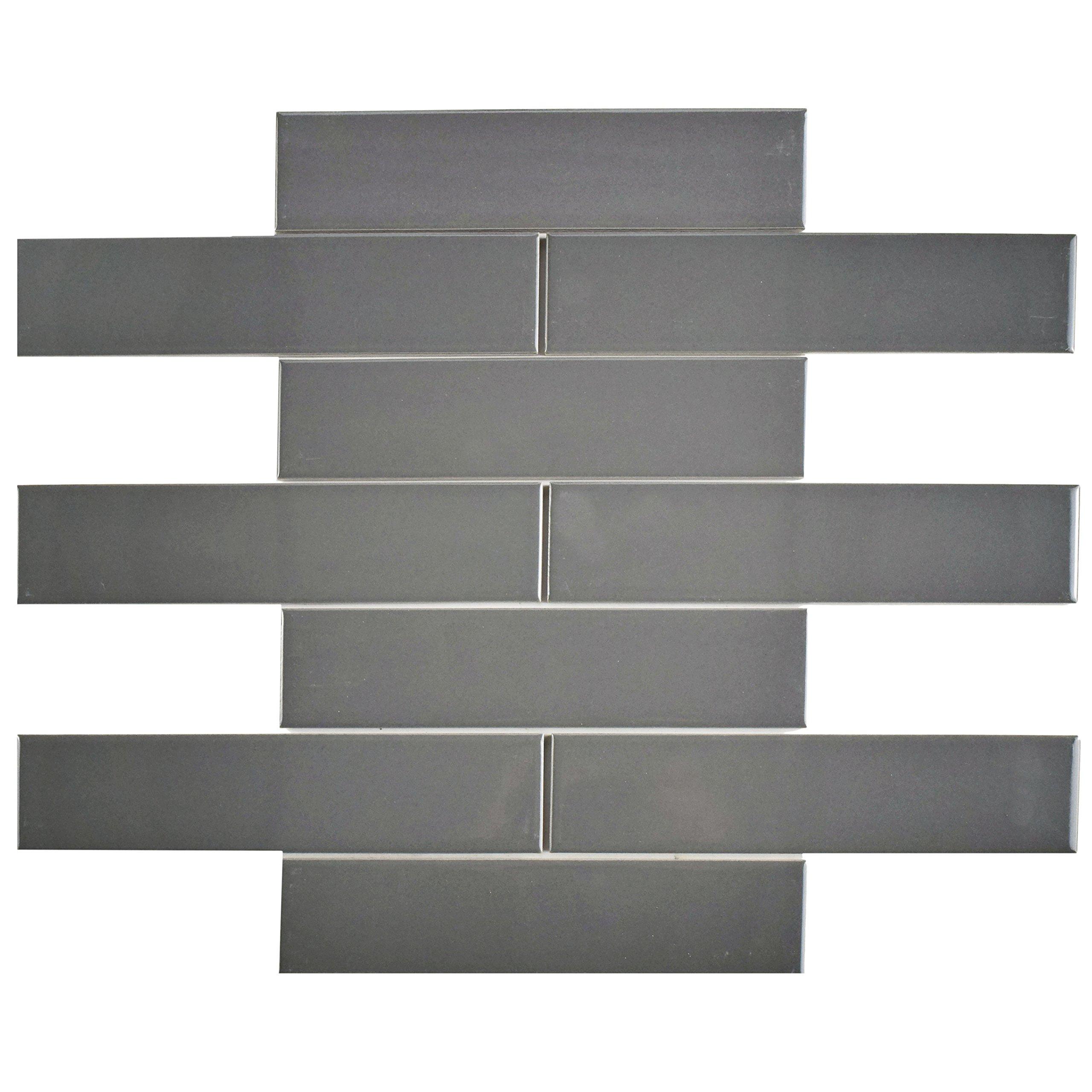 SomerTile FMTSHGG Retro Soho Subway Porcelain Floor and Wall Tile, 1.75'' x 7.62'', Glossy Grey