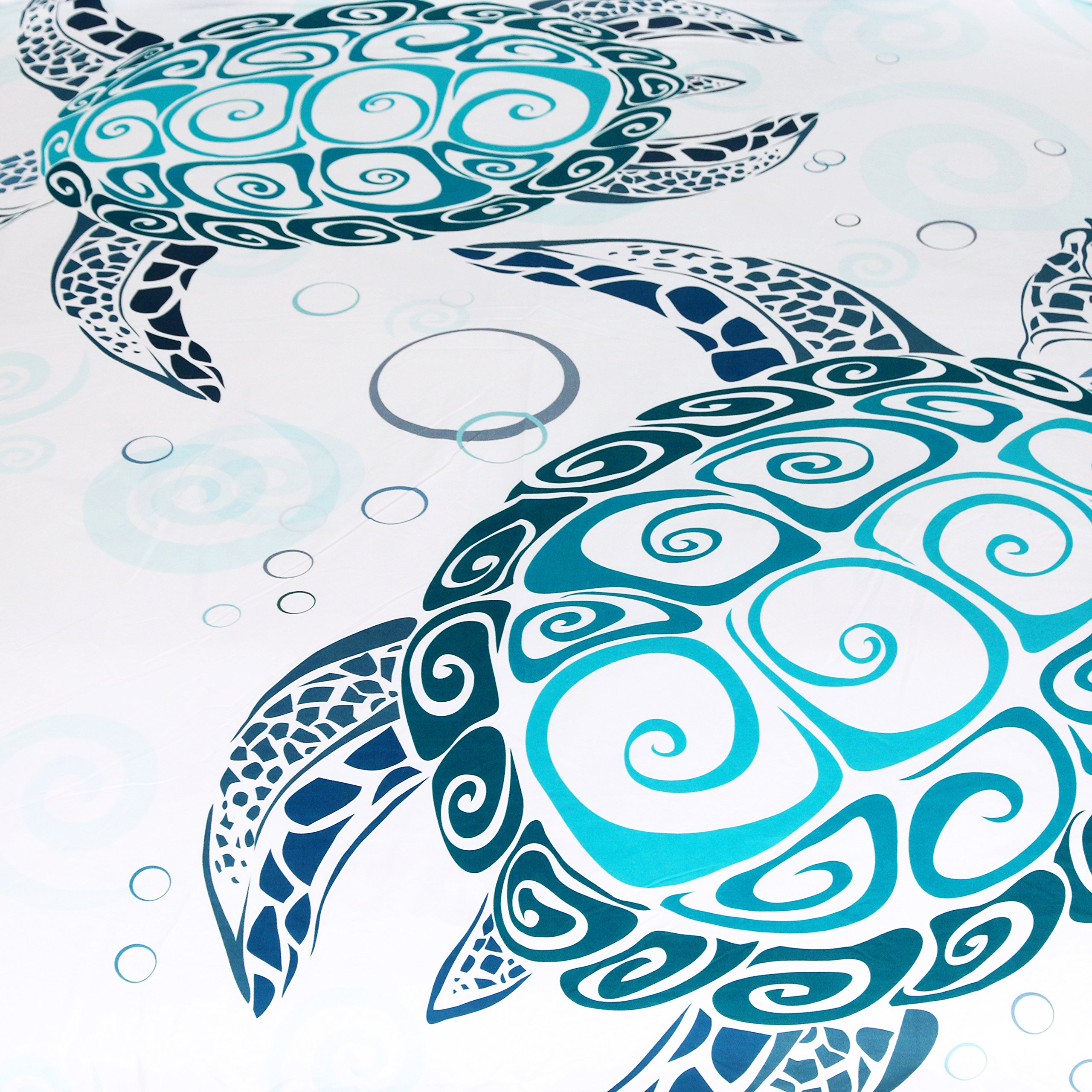 Sleepwish Turtle Bedding Royal Aqua Blue Turtles Duvet Cover 3 Piece Abstract Tortoise Bed Covers Underwater Children Bed Set (Queen) by Sleepwish (Image #2)