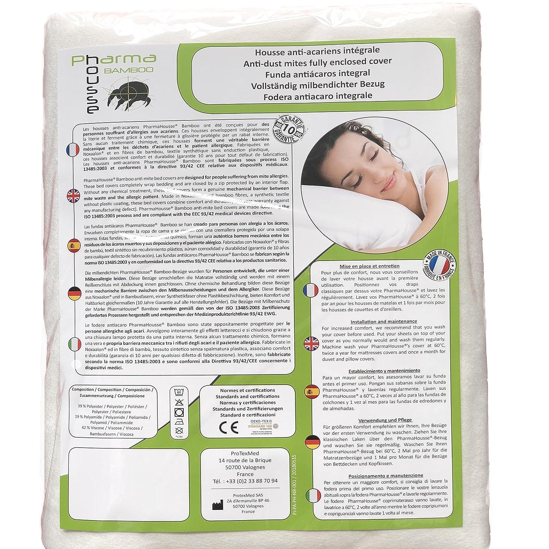 Funda antiácaros Bamboo integral para almohada - producto sanitario - Garantía de 10 años - Cubierta protectora sin tratamiento o laminación: Amazon.es: ...