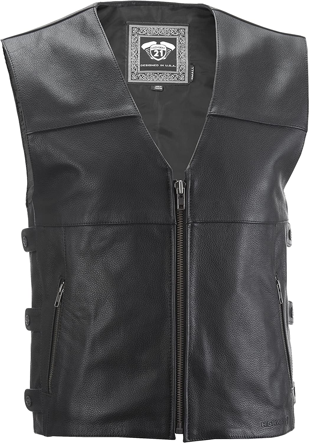Highway 21 Leather Motorcycle Vest W/Concealed Carry Pocket