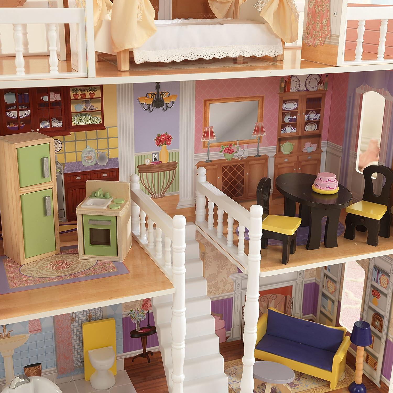 KidKraft 65023 Casa de muñecas de madera Savannah para muñecas de 30 cm con 14 accesorios incluidos y 4 niveles de juego