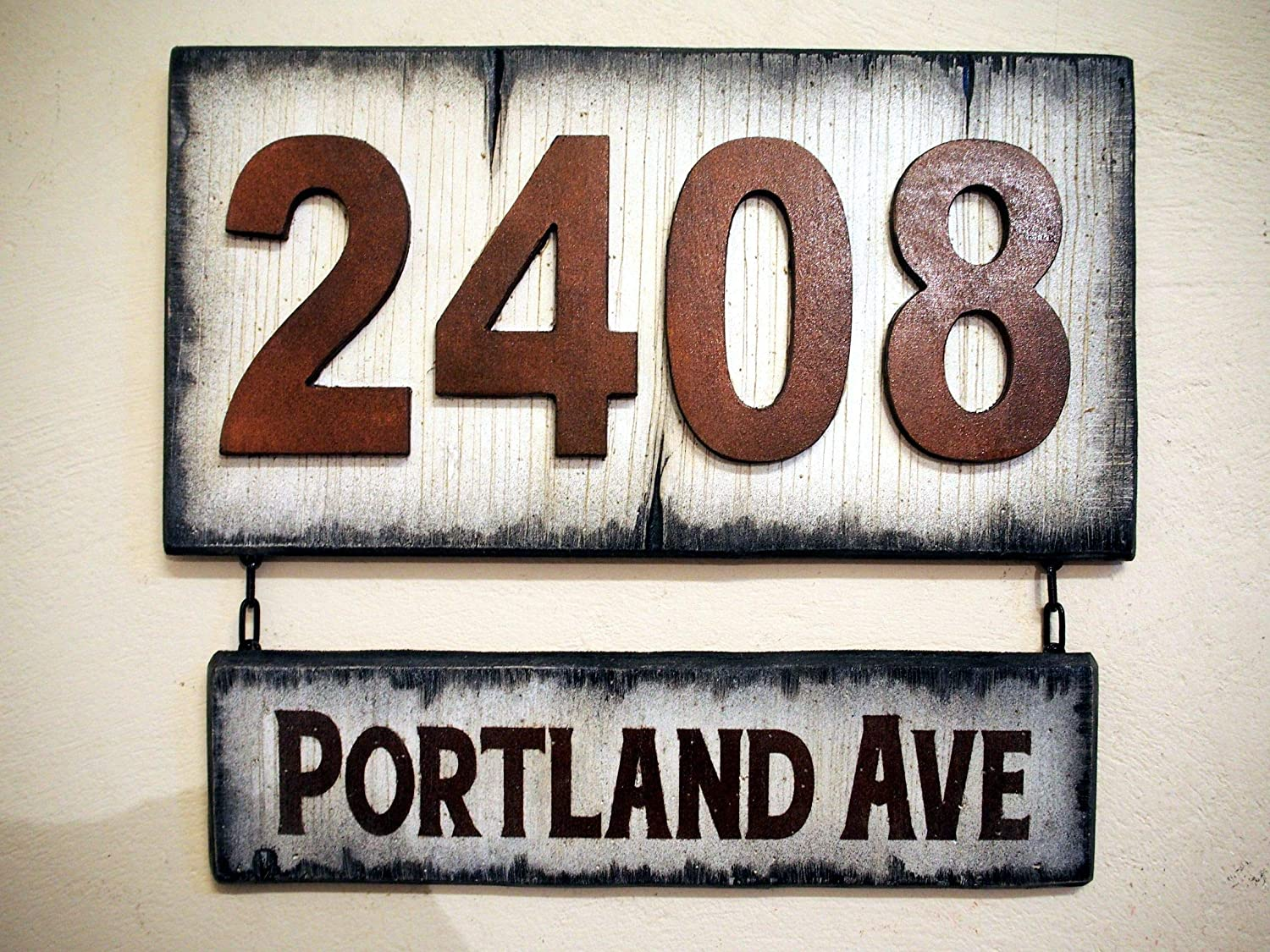 Rustic House Address Signs | Rubbed bronze-colored numbers on antique white plaque with hanging street name sign | Custom Address Plaque | Made of distressed Wood | House numbers, address sign