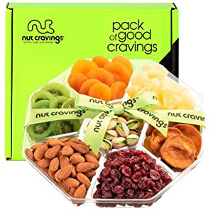 Easter Gift Baskets for Adults & Kids, Dried Fruit & Nut Platter, Green Ribbon (7 Mix Tray) - Gouremt Food Arrangement, Care Package Variety, Prime Birthday Assortment, Healthy Kosher Snack Box