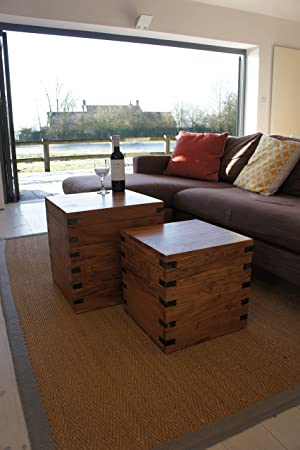 Coffee Table With Storage Cubes.Ecoindia Sheesham Yuma Nest Of Chest Side Tables Storage Cube