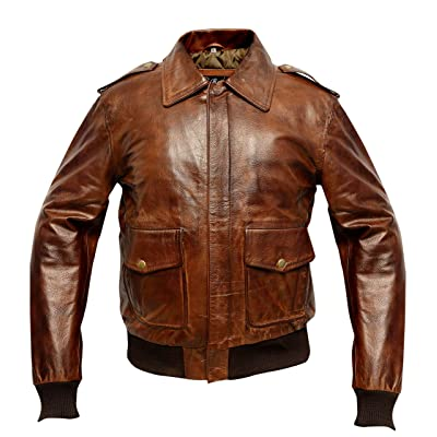 A2 Waxed Distressed Brown Real Cowhide Leather Bomber Flight Jacket at Men's Clothing store