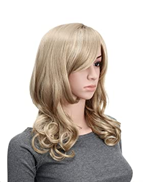 OneDor Full Head Beautiful Long Curly Wave Stunning Wig Charming Curly Costume Wigs with Fringe (24H613 Blonde Highlights)