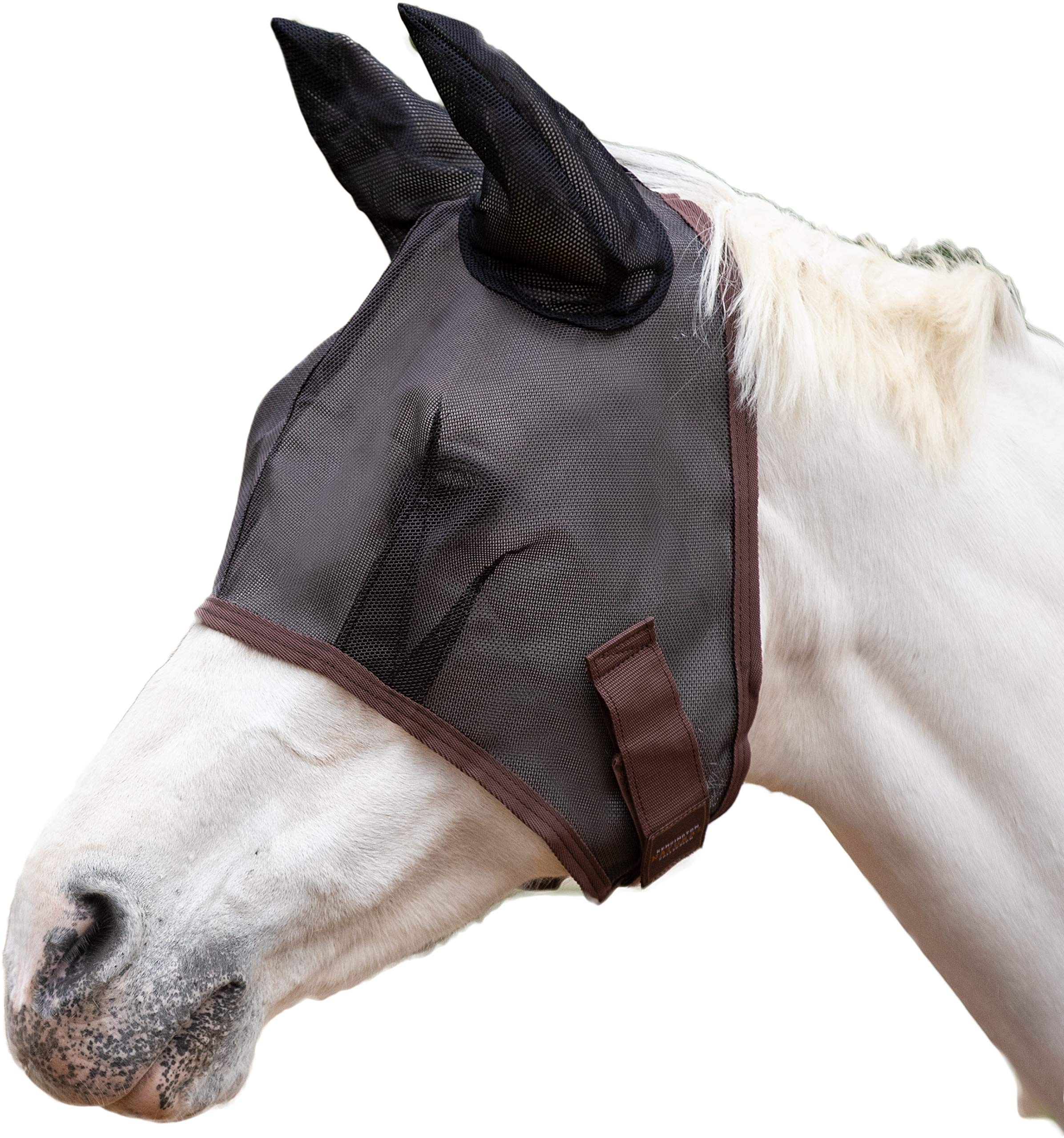 Kensington Signature Fly Mask with Soft Mesh Ears - Protects Horses Face, Nose and Ears from Biting Insects and UV Rays While Allowing Full Visibility (L, Black) by Kensington Protective Products
