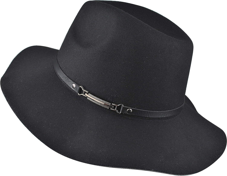 EINSKEY Womens Felt Fedora Hat Wide Brim Panama Cowboy Sun Hat for Beach Church