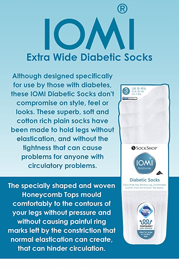 b904194f5bf16 IOMI - 3 Pairs of Extra Wide Diabetic Socks for Swollen Legs in 2 Colours  and 4 Sizes: Amazon.co.uk: Clothing