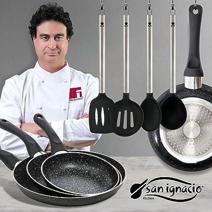 San Ignacio - Juego de sartenes en Negro y Utensilios de Cocina