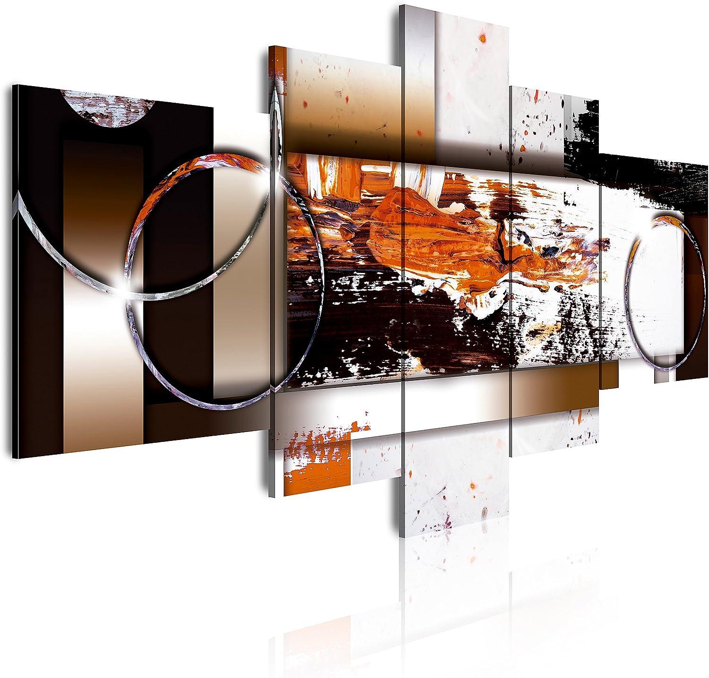 DekoArte - Cuadros Modernos Impresión de Imagen Artística Digitalizada | Lienzo Decorativo Para Tu Salón o Dormitorio | Estilo Abstracto Moderno Colores Ocre Negro Blanco | 5 Piezas 180 x 85 cm XXL