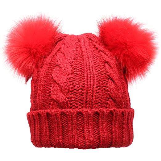 MIRMARU Women s Winter Knitted Faux Fur Double Pom Pom Beanie Hat with  Plush Lining.( 246025d68734