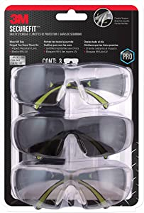 3M SF400-W-3PK-PS Secure-Fit 400 Anti-Fog Eye Protection Glasses, Multi-Pack (3 Pack)