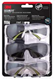 3M SecureFit 400 Eye Protection Clear, Mirror, Anti Fog SF400-W (Pack of 3)