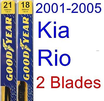 2001 - 2005 Kia Rio hoja de limpiaparabrisas de repuesto Set/Kit (Goodyear limpiaparabrisas blades-premium) (2002,2003,2004): Amazon.es: Coche y moto