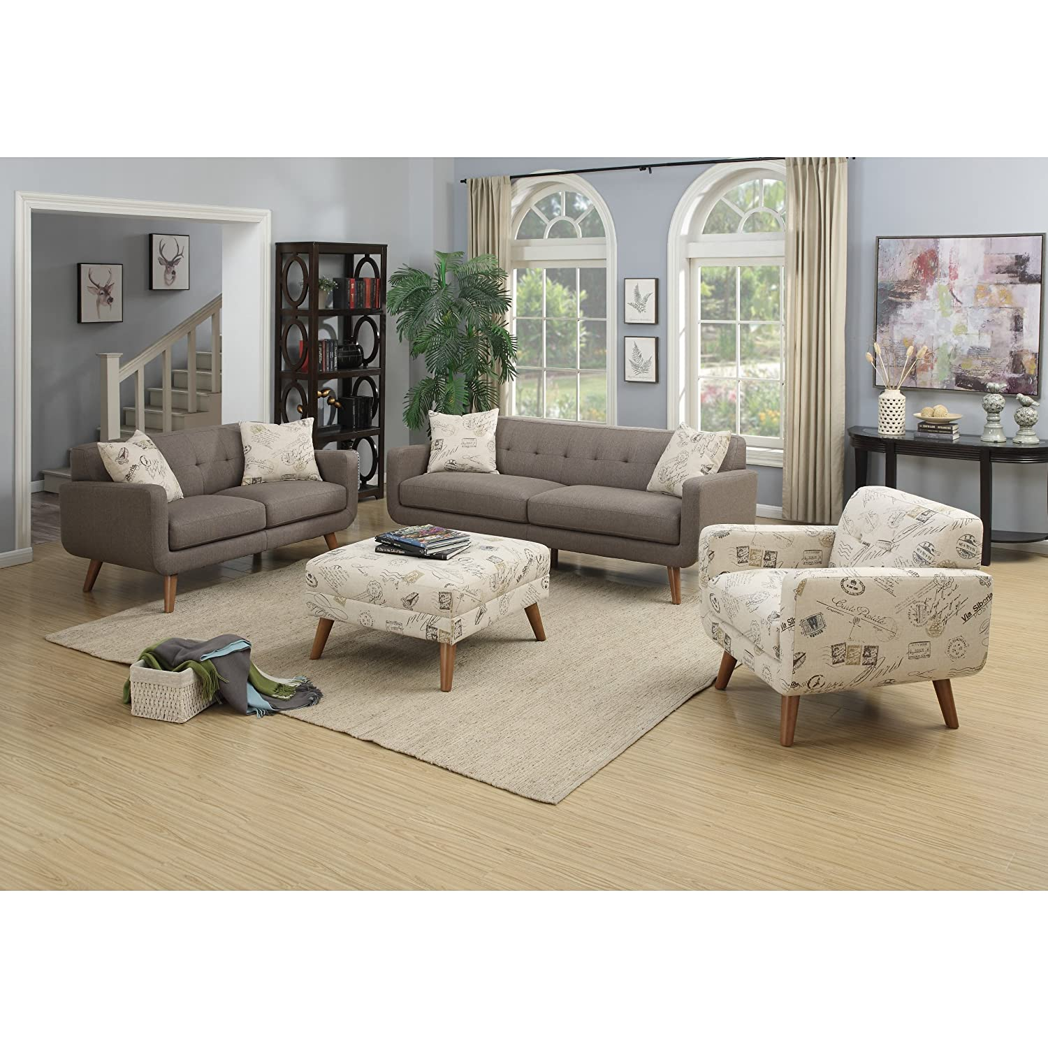 Amazon Emerald Home Furnishings Remix Sofa Brown with 2