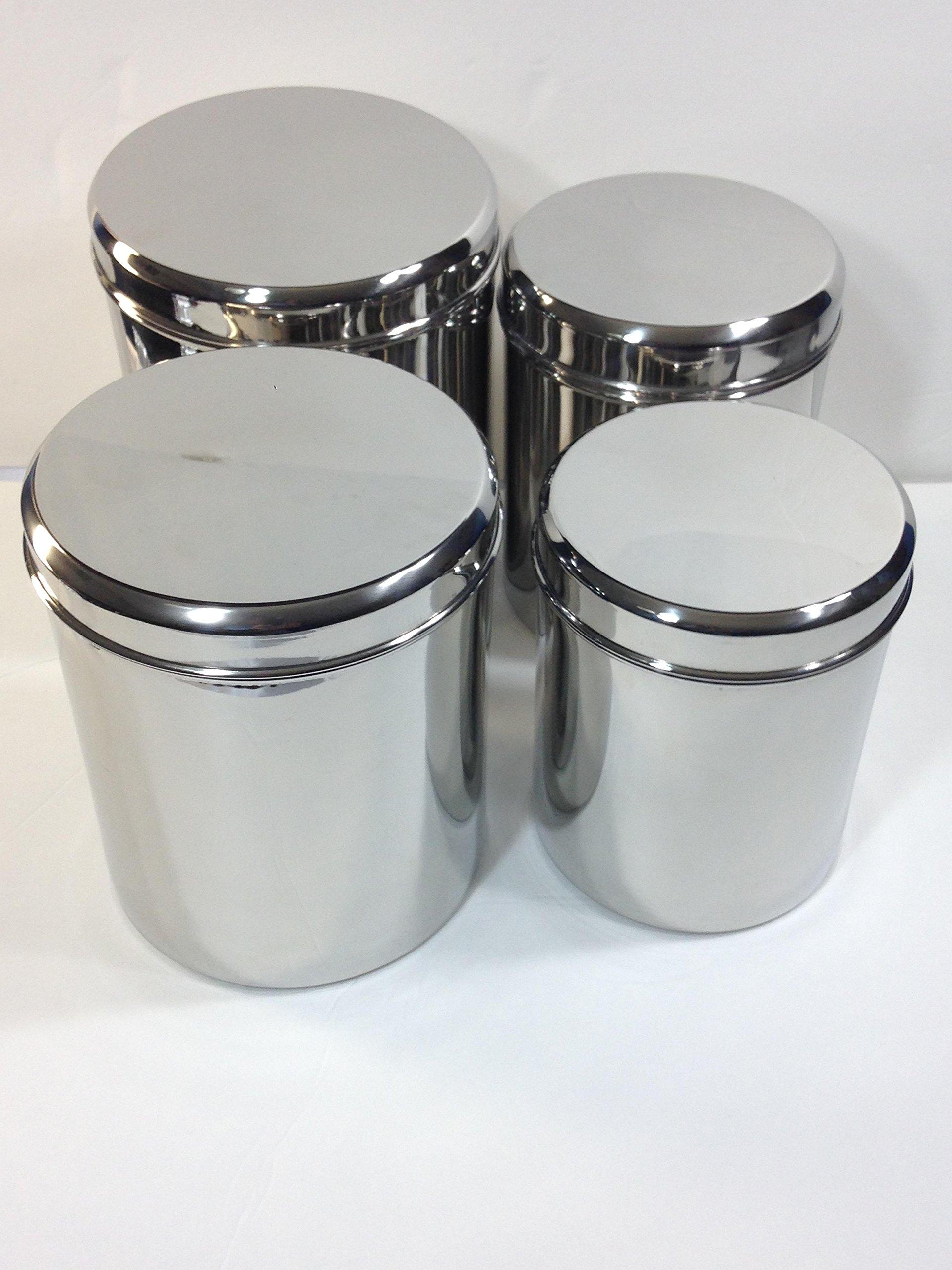Qualways Jumbo Stainless Steel Kitchen Canister Set of 4 (Set of 4), 6.5 lb, 5 lb. 4 lb and 3 lb canister set